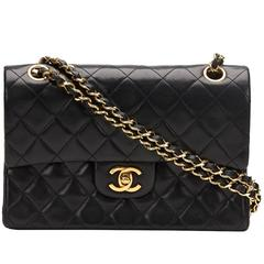 1980's Chanel Black Quilted Lambskin Vintage Small Classic Double Flap Bag