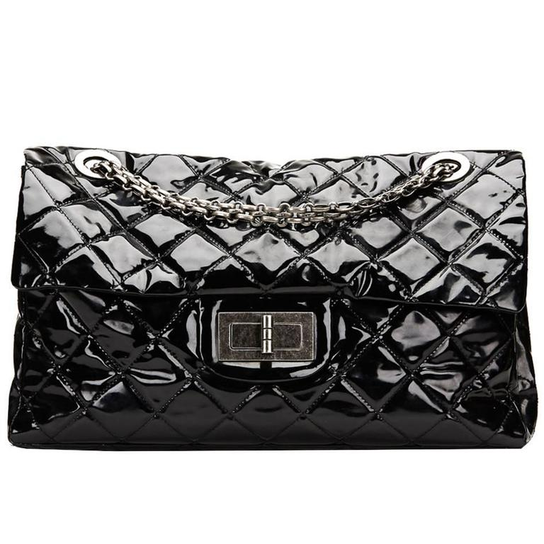 2842ab5cd688 2010 Chanel Black Quilted Patent Leather Super Maxi 2.55 Reissue Flap Bag  For Sale.