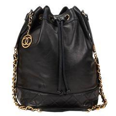 1990's Chanel Black Quilted Lambskin Vintage Bucket Bag