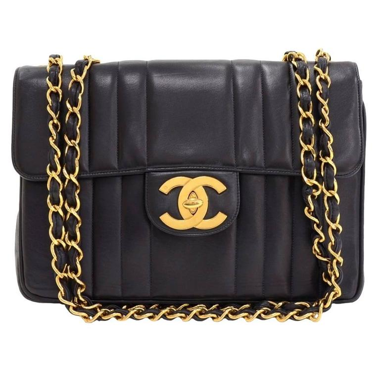 d3825f0dc732 1990 s Chanel Black Vertical Quilted Lambskin Vintage Jumbo XL Flap Bag For  Sale.