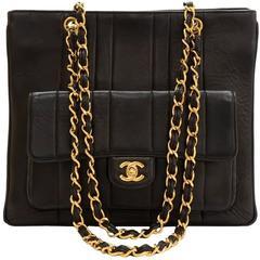 1990's Chanel Black Vertical Quilted Lambskin Vintage Timeless Shoulder Bag