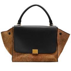2012 Céline Black Smooth Leather & Brown Pony Fur Medium Trapeze