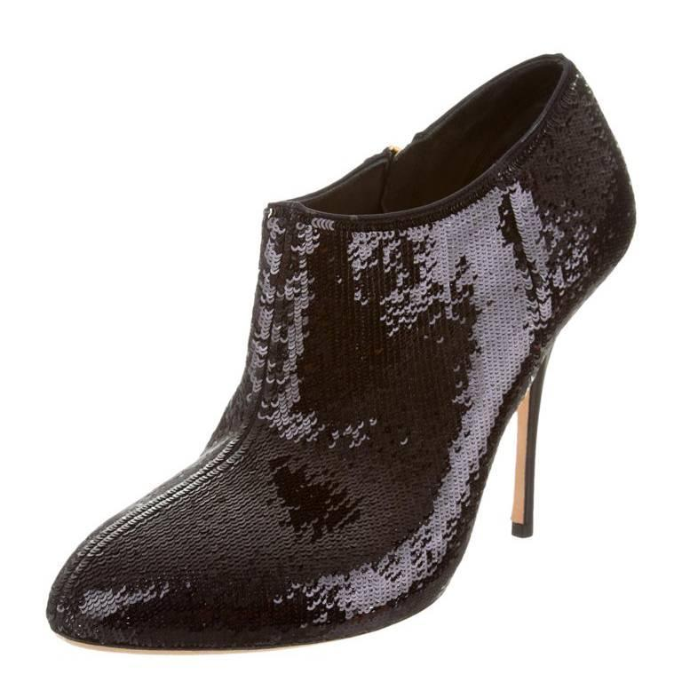New Gucci Black Sequin-Embellished Booties 1