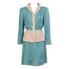 Pauline Trigere Graphic Turquoise Linen Suit