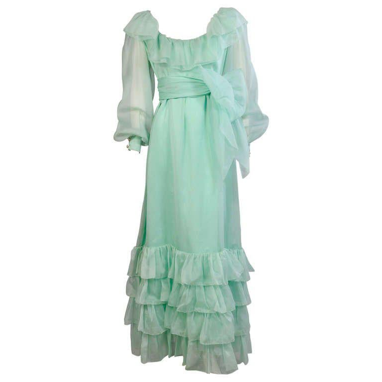 Givenchy Haute Couture Aquamarine Silk Organza Evening Dress For Sale