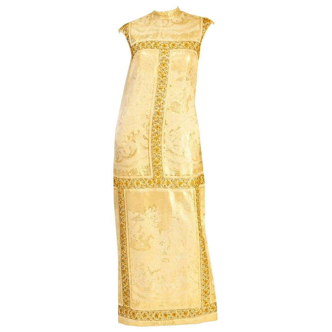 Asian Print Gold Lame Brocade Gown, 1960s
