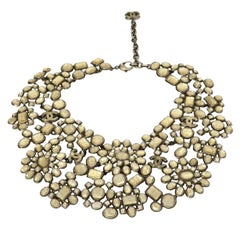 Chanel 2010 Taupe Glass CC Floral Bib Collar Necklace rt. $11,000