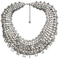 Chanel 2012 Paris-Bombay Silver Beaded Bib Necklace rt. $8,500