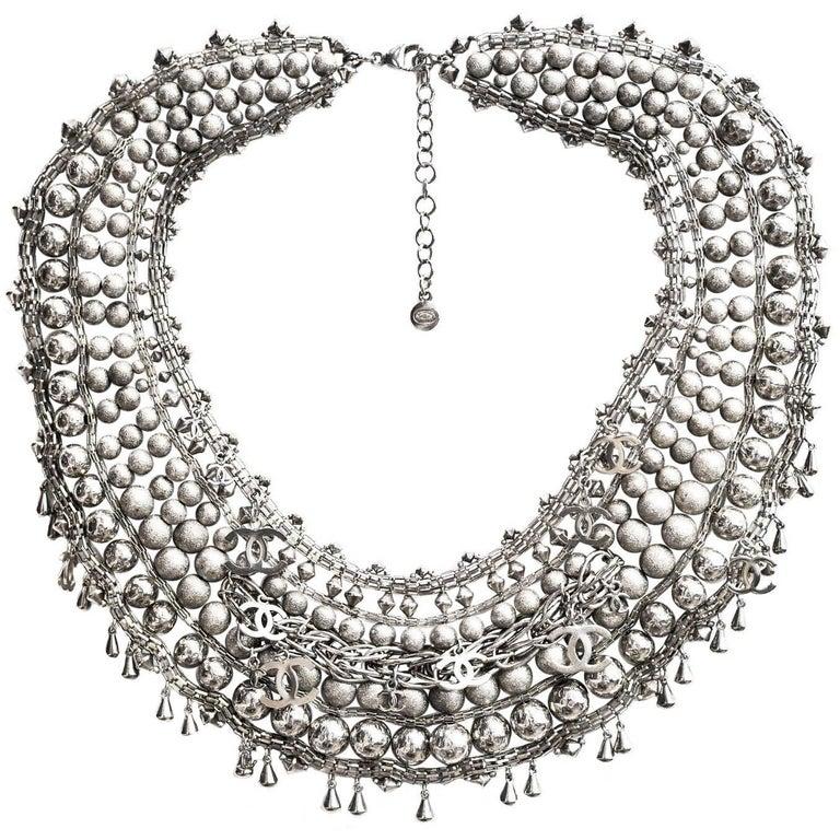 Chanel Paris-Bombay Silver Beaded Bib Necklace 1