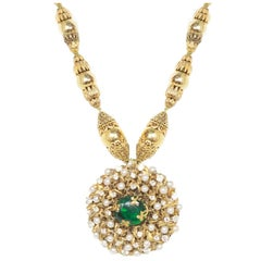 Chanel Collectors 3 Star Couture Faux Pearl And Green Gripoix Necklace