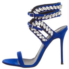 Giuseppe Zanotti NEW & SOLD OUT Blue Suede Sandals Heels in Box