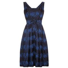 1950s Susan Small Silk Brocade Midnight Blue and French Blue Dress