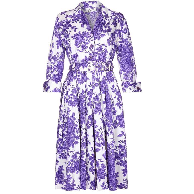 1960s Tudor Purple Rose Print Shirt Waister Dress 1