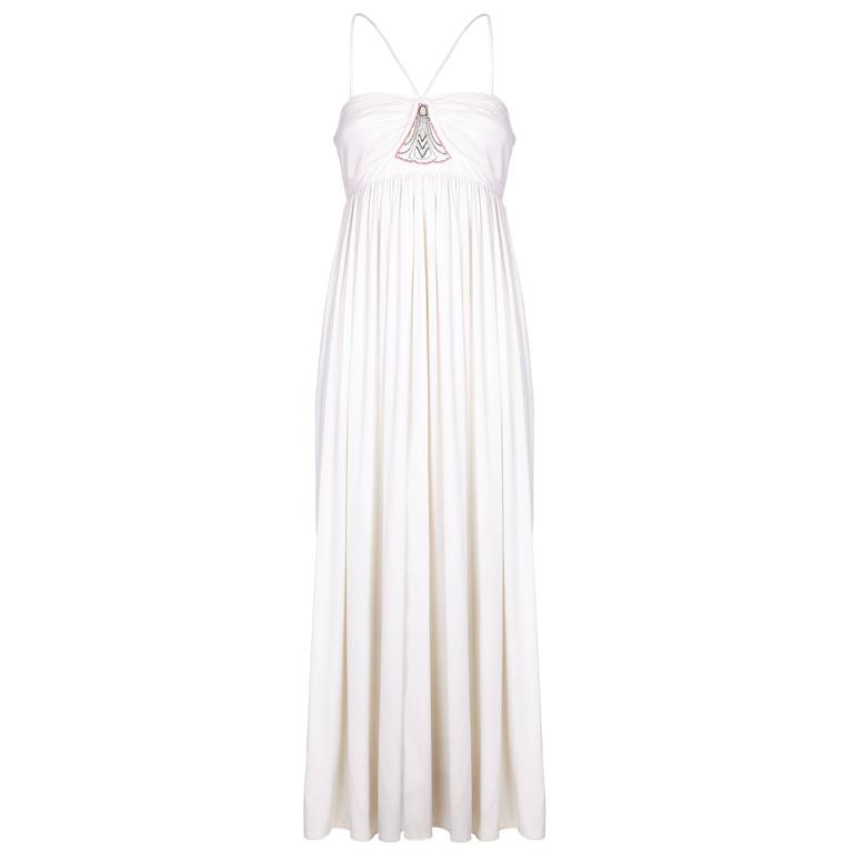 1970s Bill Gibb White Evening Dress with Beaded Moth Motive