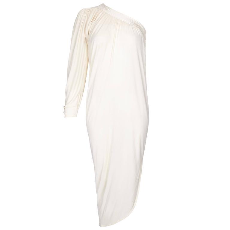 1970s Yuki Couture Asymmetrical Cream Silk Jersey Dress