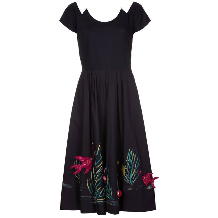 1950s Marjorie Montgomery Black Cotton Novelty 3D Hand Painted Fish Print Dress For Sale
