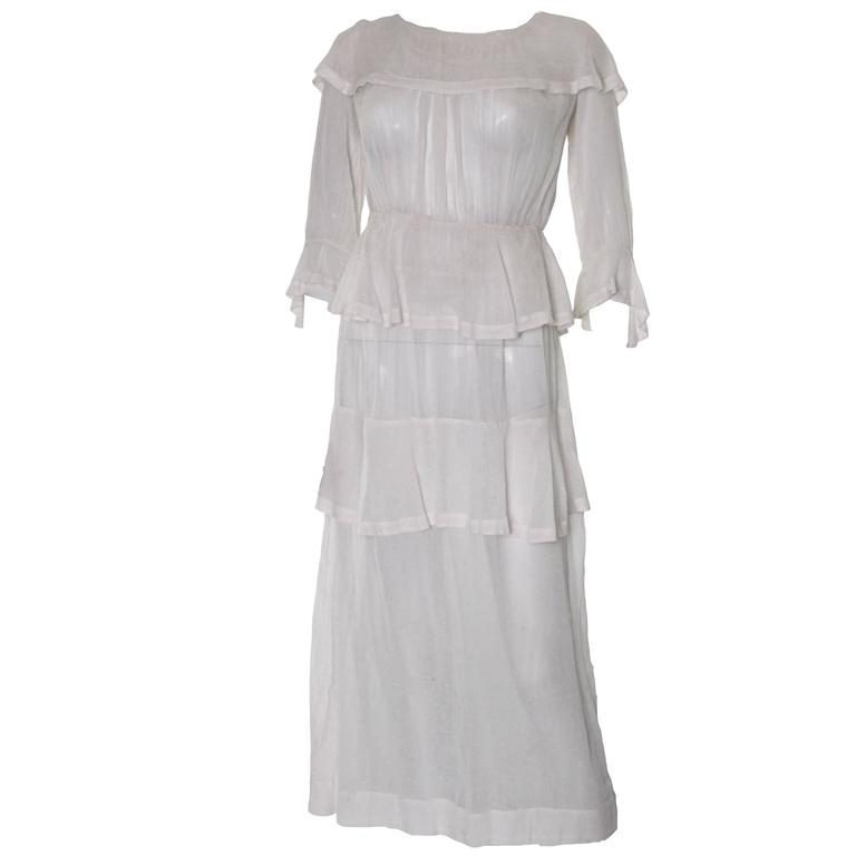 White Layered Cotton Edwardian Day Dress For Sale