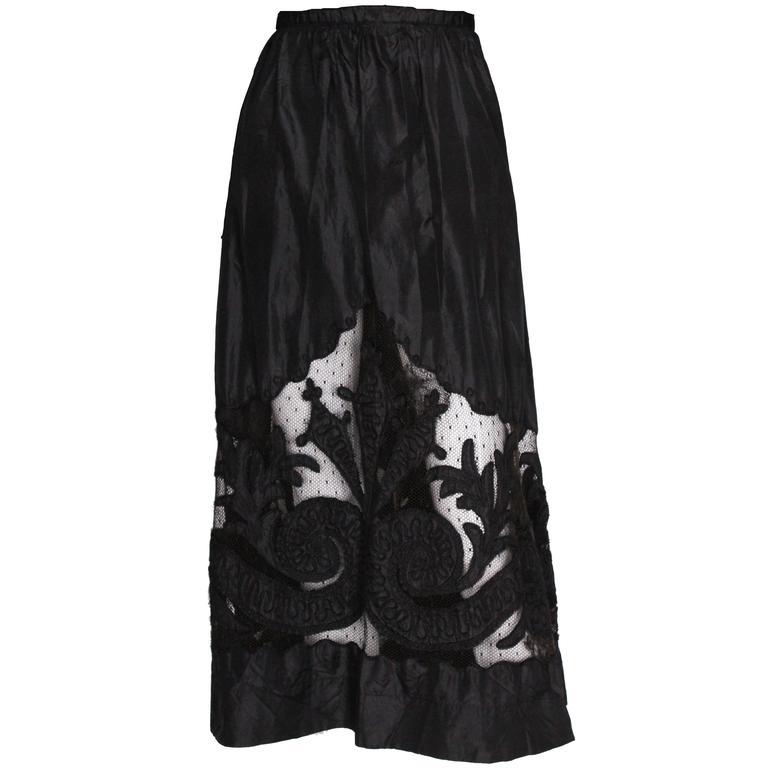 Edwardian Silk & Net Embroidered Black Skirt For Sale