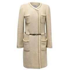 Chanel Beige Wool and Silk Tweed Coat