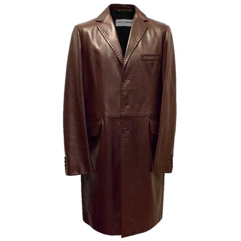 Dolce & Gabbana Mens Burgundy Leather Long Coat