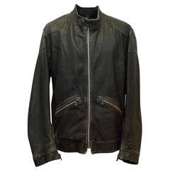 Dolce & Gabbana Black Distressed Leather Bomber Jacket