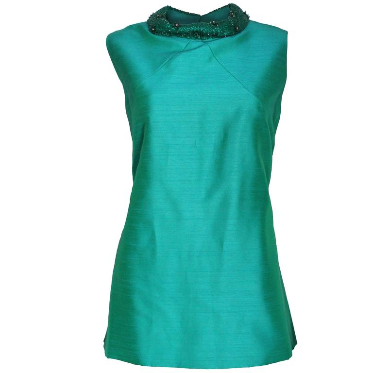 1960s Turquoise Silk Beaded Collar Shift Top