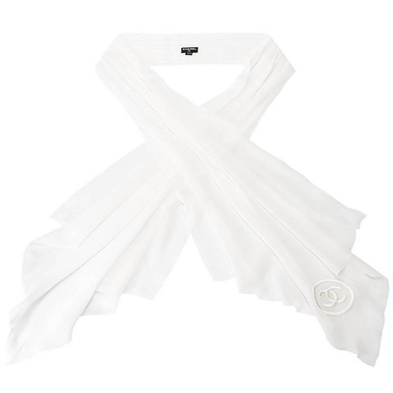 Chanel Pleated Silk Scarf For Sale