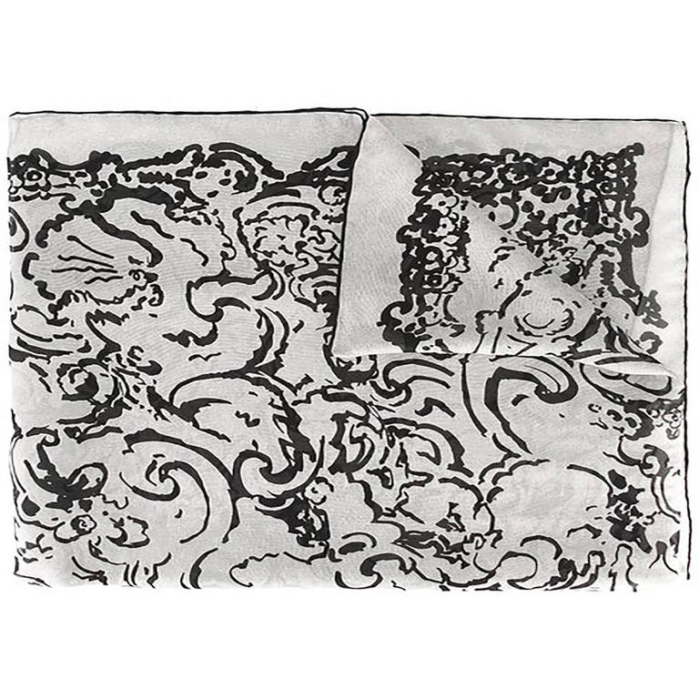 Chanel Camellia Silk Scarf For Sale