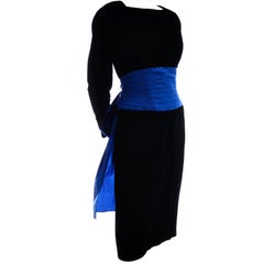 1980s AJ Bari Vintage Black Silk Velvet Dress w/ Open Back and Blue Sash & Bow