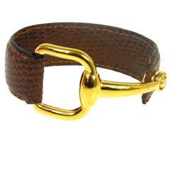 Gucci Horsebit Gold Cognac Brown Lizard Leather Men's Women's Cuff Bracelet