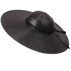 Nan Duskin Wide Brimmed Hat Lacquered Black Straw