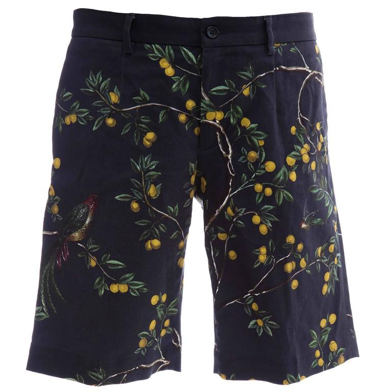 Dolce & Gabbana Men's Black Printed Birds Lemons Cotton Shorts, Spring 2016 1