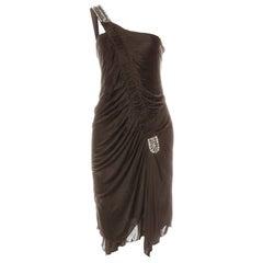 Roberto Cavalli Bronze Ruched One Shoulder Dress