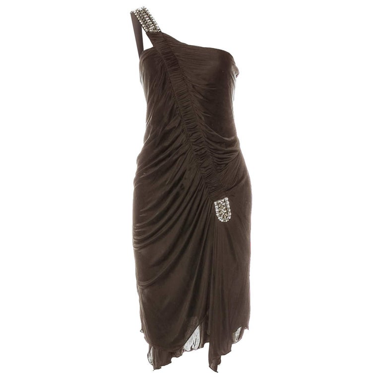 Roberto Cavalli Bronze Ruched One Shoulder Dress