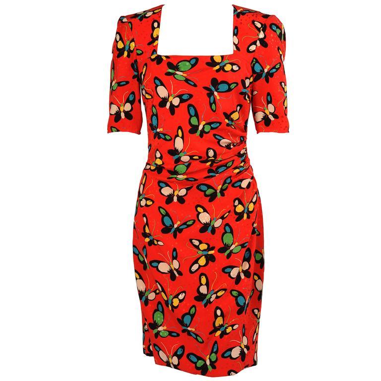 Ungaro Red Silk Butterfly Print Dress