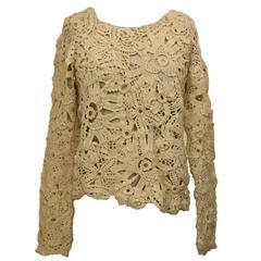 Comme des Garcons Cream Off White Floral Crochet Lace Open Knit Hole Sweater
