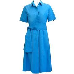 Hermes Dres Esprit Popeline de Cotton Blue Cobalt Color Size 36