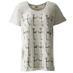 Hermes T-Shirt Mors de Selle Jersey Chine Grey Size 36.