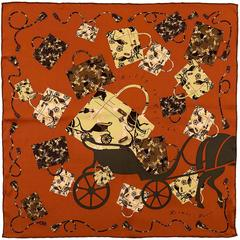 Tres Chic Hermes Silk Scarf 'Kelly en Caleche' by Cyrille Diatkine