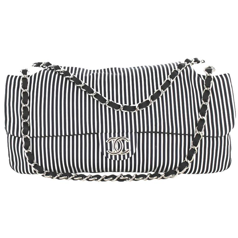 CHANEL Bag in Canvas White and Blue Stripes For Sale