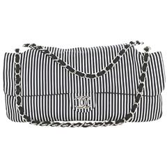 CHANEL Bag in Canvas White and Blue Stripes