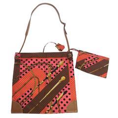 HERMES 'Silky City' Silk Bag in Multicolored Silk and Gold Barénia Calfskin