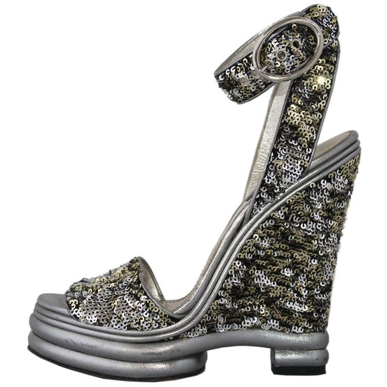 Dolce & Gabbana  Silver Sequins Sandal 39 For Sale