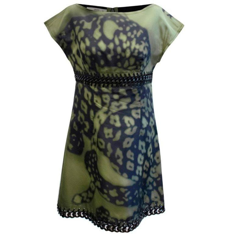 Prada Green And Black Printed Silk Dress For Sale