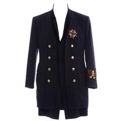 Yohji Yamamoto Men's Cotton Rayon Wool Navy Coat With Patches, Fall 2012