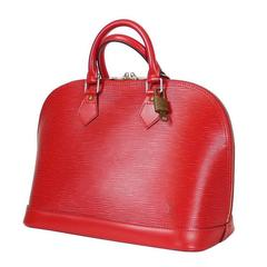 Louis Vuitton Red Epi Alma Handbag