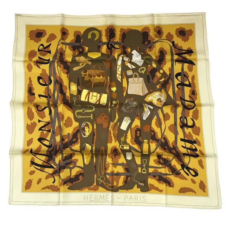 HERMÈS 'Monsieur, Madame' Scarf in Ivory, Mustard, Khaki Silk