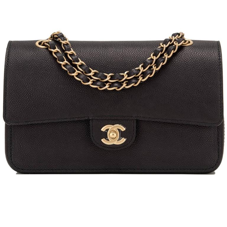 Chanel Black Caviar Medium Classic Double Flap Bag NEW For Sale