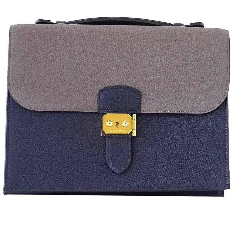 b3a9488f33f2 Hermes Sac A Depeche 27 Bag Horseshoe Blue Nuit   Etain Togo Gold For Sale  at 1stdibs