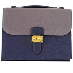 Hermes Sac A Depeche 27 Bag Limited Edtion HSS Blue Nuit / Etain Togo Gold